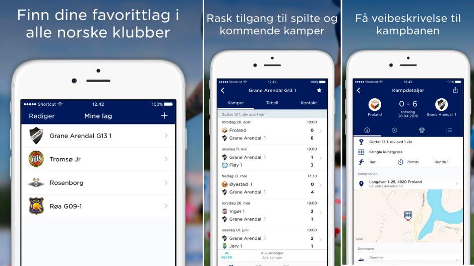 Skjermbilder fra den nye MinFotball-appen