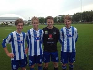 Unge spillere. F.v: Joakim (98), Espen (98), Dennis (99) og Christian (97).