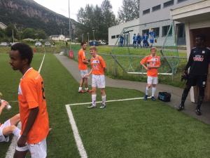 16-årige Michael Storøy (midten) debuterte for a-laget